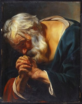 CH376999 The Penitent St. Peter (oil on panel) by Jordaens, Jacob (1593-1678); 64.2x49.5 cm; Private Collection; Photo © Christie's Images; Flemish, out of copyright